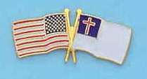 STOCK LAPEL PINS   CROSSED FLAGS AMERICAN/CHRISTIAN